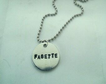 """LGBT pride """"Fagette"""" stamped necklace"""