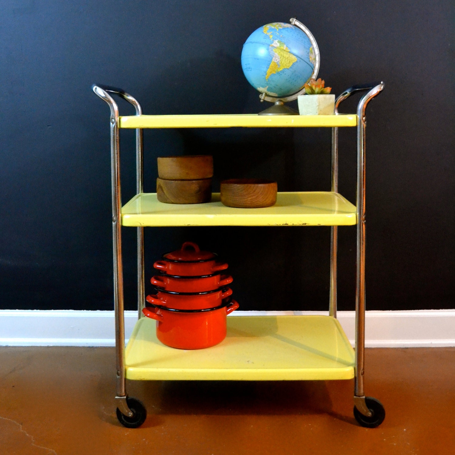 Vintage Metal Cart Serving Cart Kitchen Cart Red: Vintage Yellow Enamel Cart Bar Cart 3 Tier Cosco Cart Mid