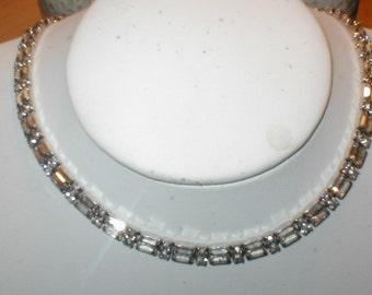 Vintage Rhinestone Baguette Choker Necklace