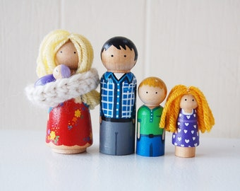Our Family - Custom Family Wooden Dolls - Create a doll family to match your own - Doll House - Peg Doll Family - Personalize Unique