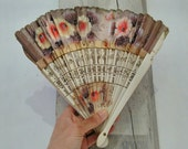 Vintage white and floral FAN  wood and fabric handpainted