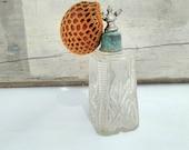 Antique crystal glass perfume bottle  atomizer art deco vintage