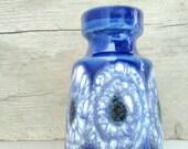 Scheurich Blue Vase German Pottery Lava Vintage Indigo Germany Jar