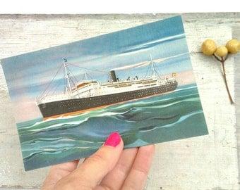 Vintage Transatlantic Ship Postcard Spanish Line