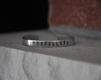 "Norrellite ""Jonathan Strange & Mr Norrell"" Handstamped Aluminium Cuff Bracelet"