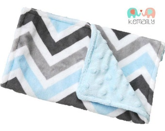 Burp Cloth Blue Grey Multi Chevron Double Minky Burp Cloth - Burp Rag - Baby Shower - Feeding - Baby Gift - Nursing - New Mom - Essentials