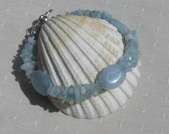 "Aquamarine Crystal Gemstone Bracelet ""Sky Lark"", Blue Bracelet, Chakra Bracelet, Scorpio Jewelry, Courage Bracelet, Aquamarine Bracelet"