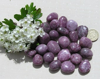 5 Lepidolite Crystal Tumblestones, Crystal Collection, Chakra Crystals, Purple Crystals, Mica Crystals, Pink Tourmaline, Rubellite, Aura