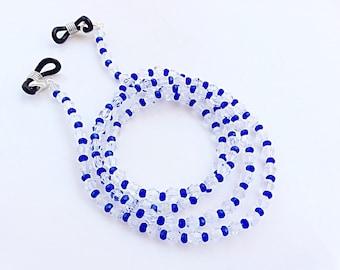 Eyeglasses chain holder deep blue crystals beads beautiful eyeglasses neck chain glasses holder necklace N37