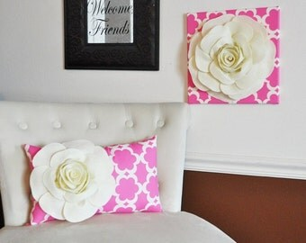 Lumbar Pillow and Wall Hanging Combo - Ivory Rose on Pink Tarika Lumbar Pillow 9 x 16 and Wall Hanging 12x12
