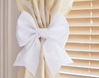 White Bow Curtain Tie Backs. TWO Decorative Tiebacks Curtain Holdback -Drapery Tieback- Baby Nursery Decor. Cottage Chic.