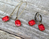 vintage light siam rhinestones earrings   red sparkly   wedding   bridal party   dames and divas earrings