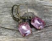 vintage light amethyst rhinestones   february birthstone   lilac light purple   wedding   bridal party   dames and divas earrings