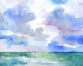 Watercolor Painting Abstract Ocean - 5 x 7 - Ocean Painting - Landscape Seascape - Beach Art - Wall Art Watercolor Ocean