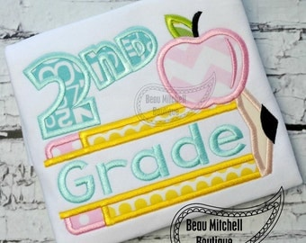 2nd grade pencil apple applique