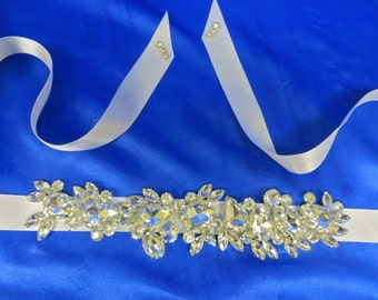 Wedding Belt Sash, Bridal Belt Sash, Wedding Sash Belt, Bridal Sash Belt, Art Deco Applique, Swarovski Crystal Sash,  Swarovski Crystal Belt