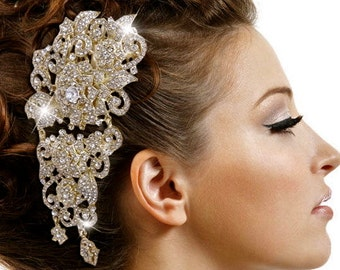 Gold Wedding Fascinator, Gold Hair Fascinator, Gold Crystal Fascinator, Gold Swarovski Fascinator