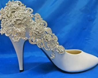 Bridal Shoe Accessory, Bridal Shoe Clips, Wedding Shoe Clips, Silver Shoe Clips, Rhinestone Shoe Clips, Crystal Shoe Clips