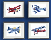 airplane nursery art - vintage airplane art print - children wall art decor - boy airplane art - baby boy nursery wall art - vintage aviator