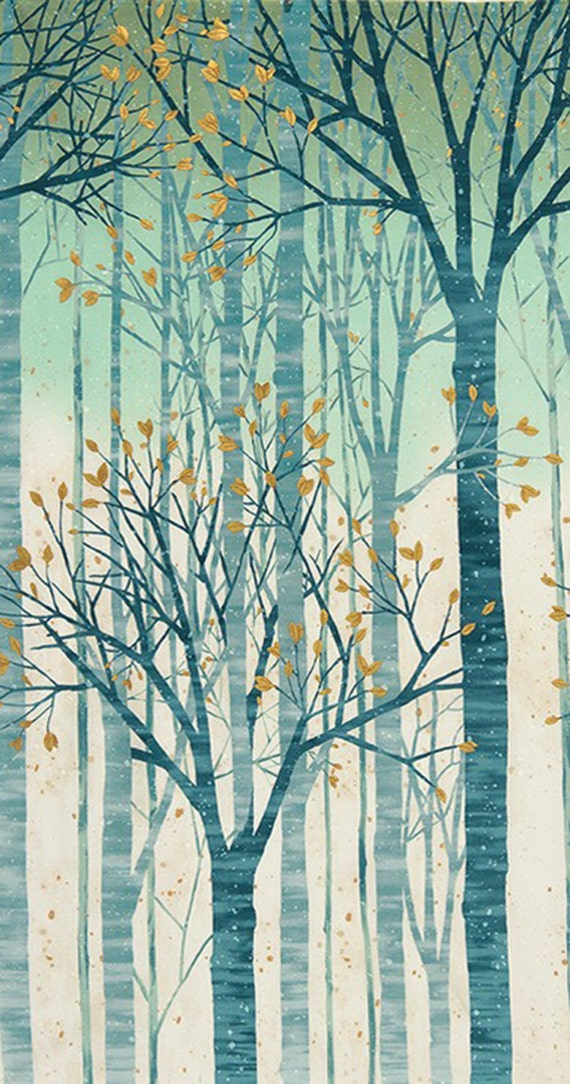 Sound Of The Woods Mist Metallic Robert Kaufman 1 Yard