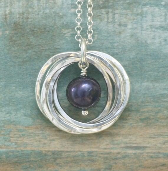 50th birthday gift black pearl necklace june birthstone
