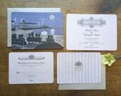 Seaside Wedding Invitation, Beach Invitation, Victorian Wedding Invitation, Moon Invitation, Blue Moon Invite, Lake, Sea, Seaside Affair