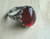 Red Gothic Ring Gift for Her Love Red Cabochon Ring Gothic Jewelry Valentines Day Wiccan Jewelry