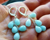 Amazonite Cascade Earrings Aqua - Sterling Silver- Rose Gold - Gold