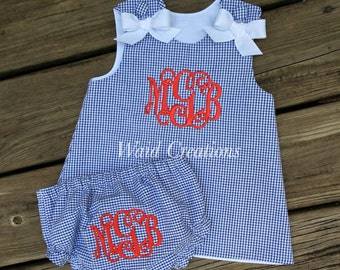 Infant monogrammed dress and bloomers, navy dress, baby monogrammed dress, monogrammed bloomers, girl's monogram navy gingham dress