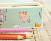 Pencil Box Feline Friends Pencil Case, Wooden Pencil Case, Sliding Door Pencil Box, School Supply, Kids art supply box, Cats, pine box
