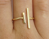 bar ring, open ring, gold ring, tiny ring, delicate ring, double bar ring, geometric ring, thin gold ring, minimalist ring, christmas gift