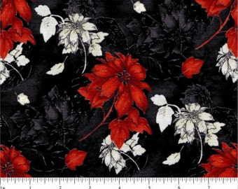 Christmas Visions from Choice Fabrics - Full or Half yard Red and White Poinsettias on Black