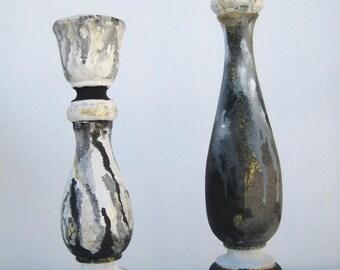 Wood Candle Holder Set - Wedding Candle Holders - Unity Candle Holders - Art Candle Holders - Black & White - Home Decor - Housewarming Gift