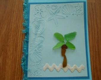 Sea Glass Card, Greeting Card, Blank Card, Green sea glass