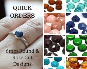 6mm Sterling Silver Gemstone Ring - Choose from Sapphire Ruby Blue Topaz Carnelian Garnet Amethyst Citrine Kyanite Iolite Labradorite Pearl