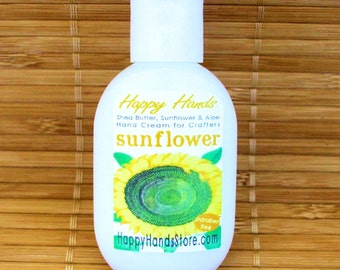 Sunflower Scented Hand Cream for Knitters - 1oz Refillable Tottle HAPPY HANDS Shea Butter Hand Lotion