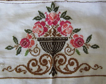 Vintage Woven Flowers Wall Hanging