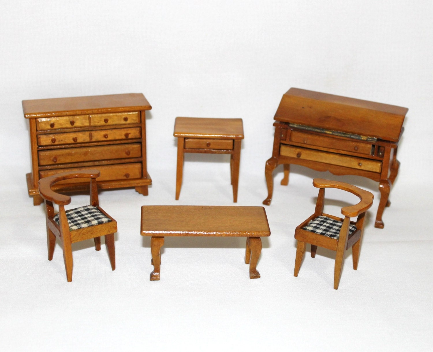 Vintage Lot Of Wooden Dollhouse Furniture 6 Piece Lot