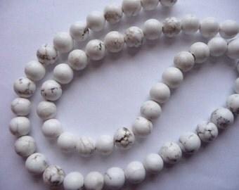 Bead, Magnesite, Gemstone, Stabilized), White, 8mm, Round, B grade, Mohs Hardness 3 to 4, Pkg Of 10