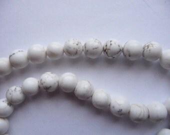 Bead, Magnesite, Stabilized, White, 6mm Round, B Grade, Mohs hardness, 3 to 4, Pkg Of 14