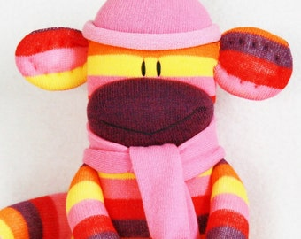 Stuffed Toys, Sock Monkey Doll Purple Pink and Yellow Stripes with Pink Hat