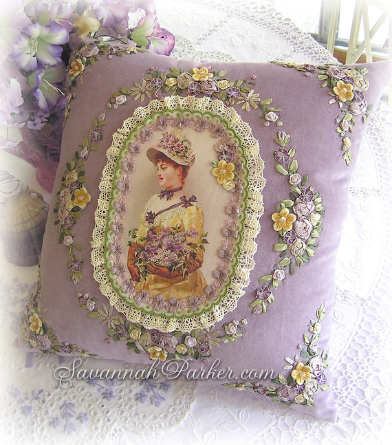 Antique Style Romantic Victorian Lilac Lady Exquisite Embroidered Pillow - Antique Lace - Lavish Ribbonwork - Shabby Chic Romantic Lace