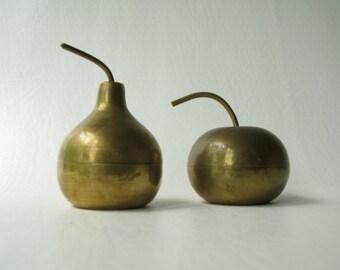 Vintage Brass Apple, Pear, container, storage