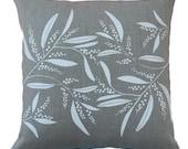 Linen Cushion Cover Screen Printed Linen Cushion Cover Hand Printed Pillow Cover White&Natural Australian Wattle