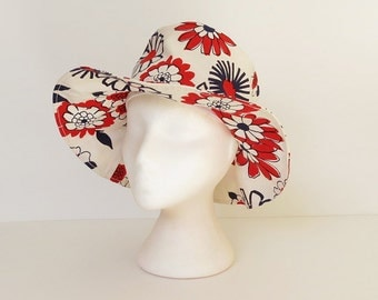 70s floppy sun hat / vintage 70s red white and blue july 4th hat / 70s mod summer hat / 70s flower power hat / 70s wide brim sunhat hat