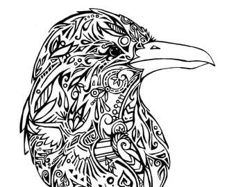 Tribal Raven Print