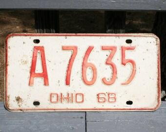 Vintage 1968 Ohio Auto License Plate