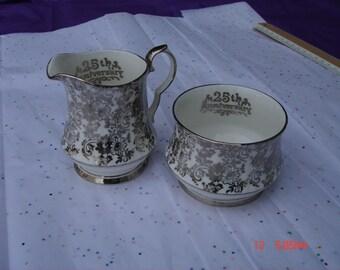 Royal Windsor 25th Anniversary Bone China Sugar Bowl and Creamer - Rare