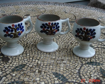 Vintage Stoneware/Earthenware Pottery Pedestal Goblets/Mugs - Very Nice