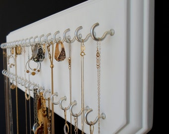 6x20-White 37-Silver, Necklace Holder Jewelry Organizer with 37 Coated Jewelry Hooks Assembled.